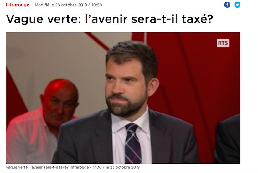 "Infrarouge RTS du 23.10.19: ""Vague verte: l'avenir sera-t-il taxé?"" (vidéo)"